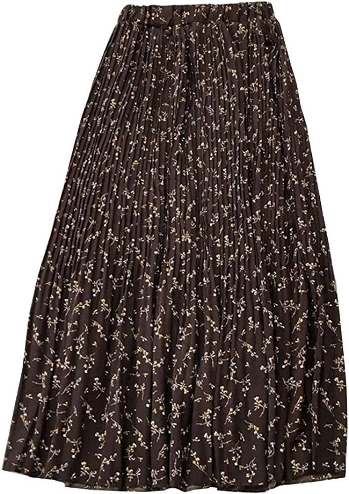 Women Summer Chiffon Floral Midi Skirt Casual High Elastic Waist A Line