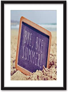 Text Bye Framed Wall Art,Bye Summer in a Chalkboard on The Beach Black Picture Frames White Matting,23''x31''