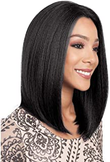 BLSWANER Synthetic Lace Front Black Bob Wig for Women Short Straight Hair L Part Full Wig Natural Looking