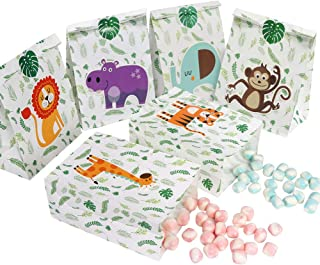 OurWarm 24pcs Jungle Safari Favor Bags, Zoo Animals Candy Gift Bags with Stickers, Woodland Treat Goodie Bags for Kids Bab...