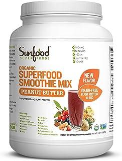 Sunfood Organic Superfood Smoothie Mix- Peanut Butter Flavor | New Plant-Based Protein Blend (Pea, Hemp, Almond, Pumpkin) ...