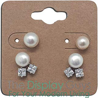 """The Display Guys Pack of 100 pcs 2x2"""" inch (5x5 cm) Kraft Paper Necklace Earrings Display Hanging Cards for Jewelry Accessory Display"""