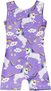 Leotards for Girls Gymnastics Kids Children Biketard With Shorts Sparkly Unicorn Dance Unitards(Multiple Colors)