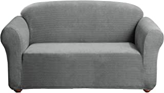 Linen Store Sicily Furniture Slipcover, 1-Piece Form Fit Soft Stretch Fabric Jacquard Couch Cover, Grey, Loveseat
