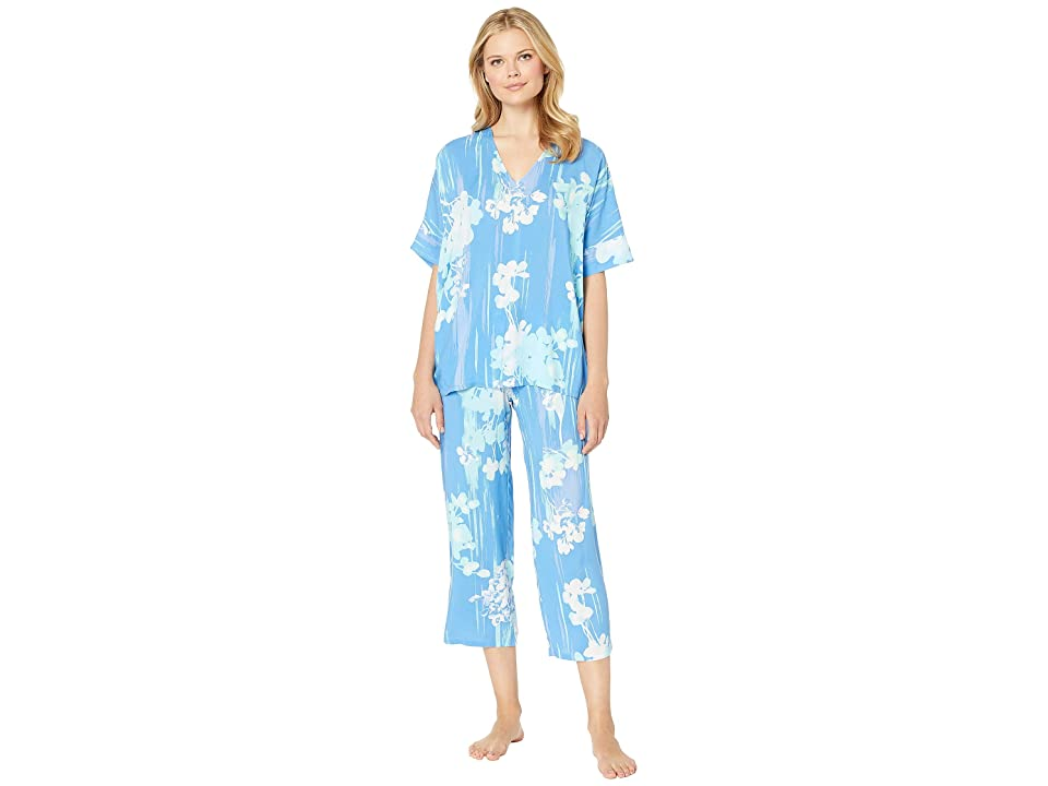 N by Natori Printed Rayon Challis Pajama Set (Blue/Green) Women