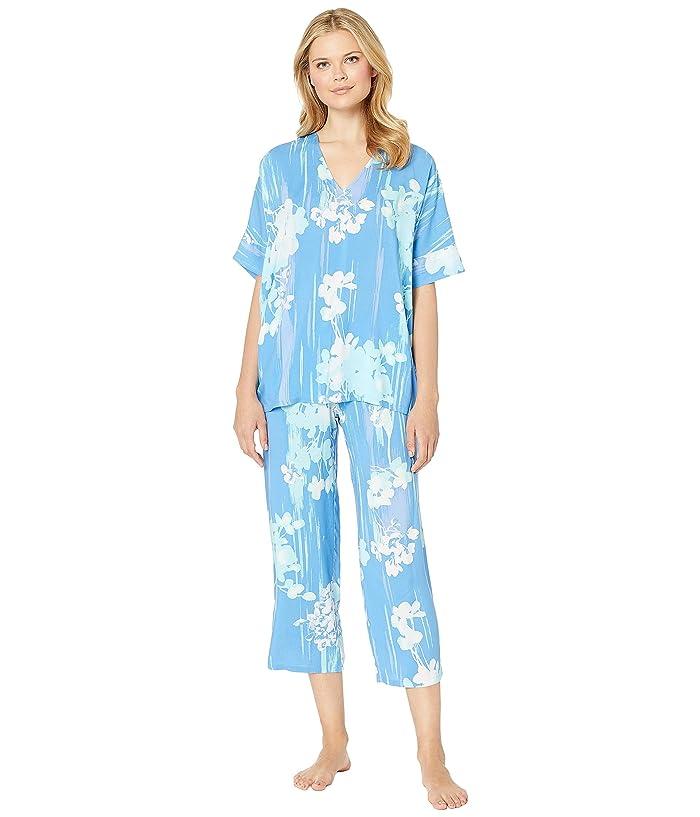 N by Natori Printed Rayon Challis Pajama Set (Blue/Green) Women