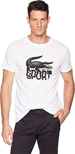 Sport Short Sleeve Tech Jersey T-Shirt w/ Large Croc Print