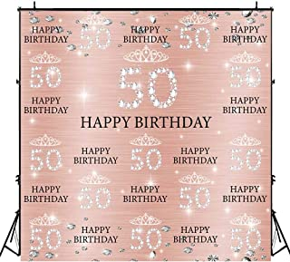Funnytree 6x6ft Rose Gold Pink 50th Birthday Photography Backdrop Crown Women Step and Repeat Diamonds Glitter Shiny Background Fifty Years Old Age Elegant Lady Party Decoration Banner Photo Booth