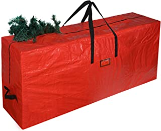 UMARDOO Christmas Tree Storage Bag - Xmas Tree Storage Container Stores 7 Foot Disassembled Artificial Christmas Tree,Durable Waterproof Zippered Bag with Carry Handles (Red, 50x15x20 in)
