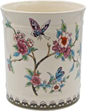 YIMI Utensil Crock, Ceramic Kitchen Utensil Holder for Countertop Large Kitchen Tool Organizer, Butterfly Ice Crack Cutlery Caddy, Cream White