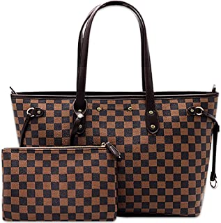 Shoulder Bag for Women Classic Checkered Tote Bag Handbag with Removable Inner Pouch-Large Capacity