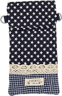 Goldline Smartphone- und Handy Tasche, Umhängetasche, Crossbag, Patchwork blau Sterne