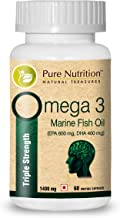 Pure Nutrition Omega 3 Triple Strength Fish Oil - 1400mg   Each Capsule Contains 600 mg EPA + 400 mg DHA   Marine Fish Oil   Salmon Fish Oil   1 Caps Daily - 60 Days Supply