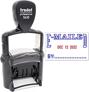 Trodat 5430 Professional Self-Inking Date Stamp with E-MAILED - Blue/Red 2 Color Ink