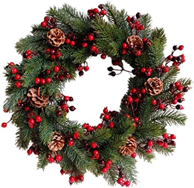 Amazon Com National Tree Company Pre Lit Artificial Christmas Wreath Flocked With Mixed Decorations And Pre Strung White Led Lights Wintry Pine 24 Inch Home Kitchen