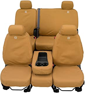 Covercraft Carhartt SeatSaver Second Row Custom Fit Seat Cover for Select Ford F-250 Super Duty/F-350 Super Duty Models - Duck Weave (Brown) - SSC8462CABN