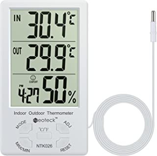Neoteck Digital Thermometer 2 in 1 Hygrometer Temperature Meter Accuracy Temperature & Humidity with Large LCD Display 1.5m Sensor Wire Manage Air Condition for Indoor Outdoor Use