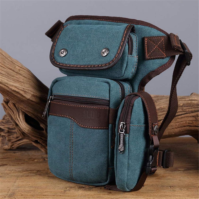 Men Drop Leg Bag Waterproof Nylon Canvas Waist Fanny Pack Travel Shoulder Messenger Crossbody Bag