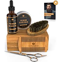 Naturenics Premium Beard Grooming Kit for Mens Care with Bamboo Gift Set