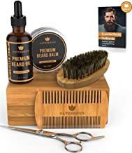 Naturenics Premium Beard Grooming Kit for Mens Care - 100% Organic Unscented Beard Oil, Beard Brush, Dual Teeth Comb, Mustache & Beard Balm Butter Wax, Barber Scissors with Bamboo Gift Set & eBook