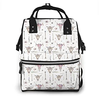 Arrows Feathers Cow Skulls Athletic Tube Stockings.png Diaper Bag Multi-Function Waterproof Travel Mummy Backpack Nappy Bags for Baby Care, Large Capacity, Stylish and Durable