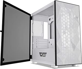 darkFlash DLM21 MESH Micro ATX Mini ITX Tower MicroATX White Computer Case with Door Opening Tempered Glass Side Panel & M...