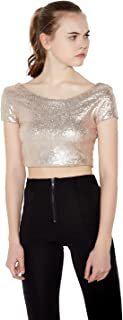 HaoDuoYi Women Sparkly Sequin Crop Backless Pullover Sexy Bodycon Club T Shirt