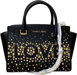 ff546ee6a2 Michael Kors Selma Medium Love Studded Saffiano Leather Satchel in Black