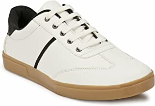 Levanse Men's Casual White Leather Sneakers Lace Up Shoes