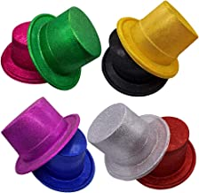MIBOW Party Top Hats Colorful Glitter Headwear Sparkling Flat Hats Glitter Top Hats for Adults,8 Pack