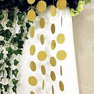 SS Cohen 4 Packs 52 Feet Gold Circle Dots Glitter Paper Garland Party Decorative Paper Circle Dots Hanging String for Birthday Wedding