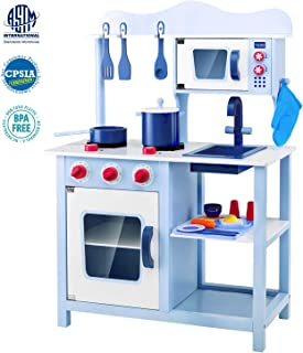 Lauraland Play Kitchen, Wooden Little Chef Pretend Play Kitchen Cooking Toy Set with 16-Piece Cookware Accessories, Intelligent Toy Kitchen Playset for Toddlers, Blue