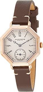 Akribos XXIV Rose Gold/Brown Classic Octagonal Shaped Watch - Stainless Steel Case - Engraved Dial with Second Subdial - Calfskin Leather Strap - AK771