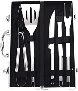 BBQ Grilling Grill Tools Set- Stainless Steel Fork, Spatula, Cleaning Brush - Barbecue Tool Set Outdoor Camping, Grill Coo...