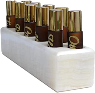 Shades of Stone Essential Oil Roller Bottle Holder - Storage and Display for 10, 10ml Roller Roller Bottles - 100% Onyx or Marble Stone (Pearl Stone)