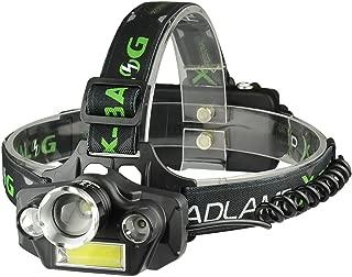 KAILEDI LED Headlamp Flashlight, USB Rechargeable LED Headlamp- Waterproof & Comfortable Headlight, Battery Powered Helmet Light, 8000 Lumen 4 Light 5 Modes Super Bright Outdoor Camping Biking