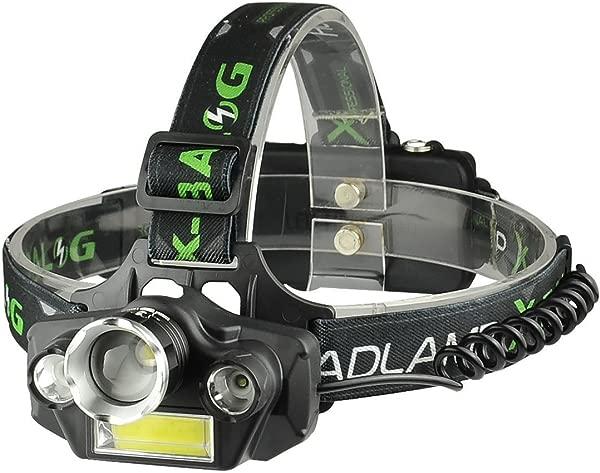 LED Headlamp Flashlight USB Rechargeable LED Headlamp Waterproof Comfortable Headlight Battery Powered Helmet Light 8000 Lumen 4 Light 5 Modes Super Bright Outdoor Camping Biking Black