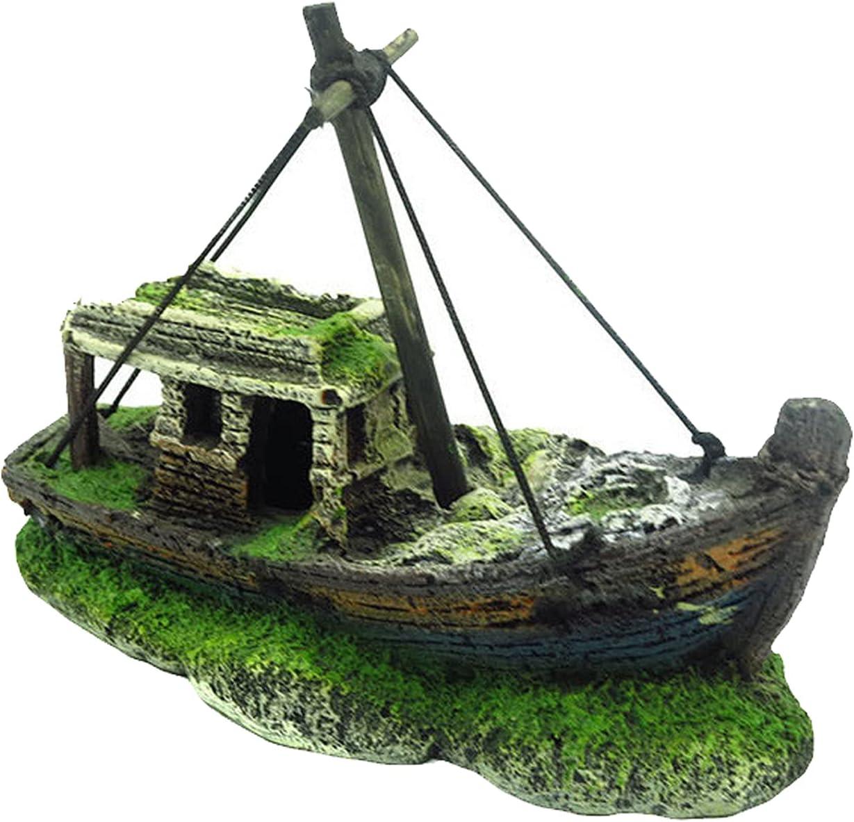 N\O Decorazione in resina artificiale di pescherecci, decorazione in plastica, nave pirata affondata, decorazione per acquario
