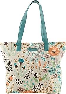 COLES Women's Floral Beige Printed Tote Bag (Multicolour)