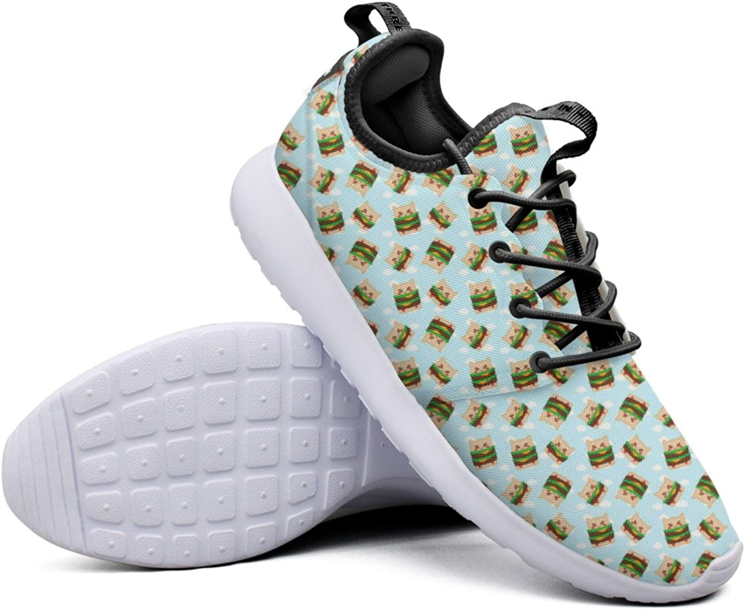 Fashion Sneakers For Women Cheeseburger Cats Burger Clouds Double Food Cool Lightweight Breathable Mesh Womens Running shoes