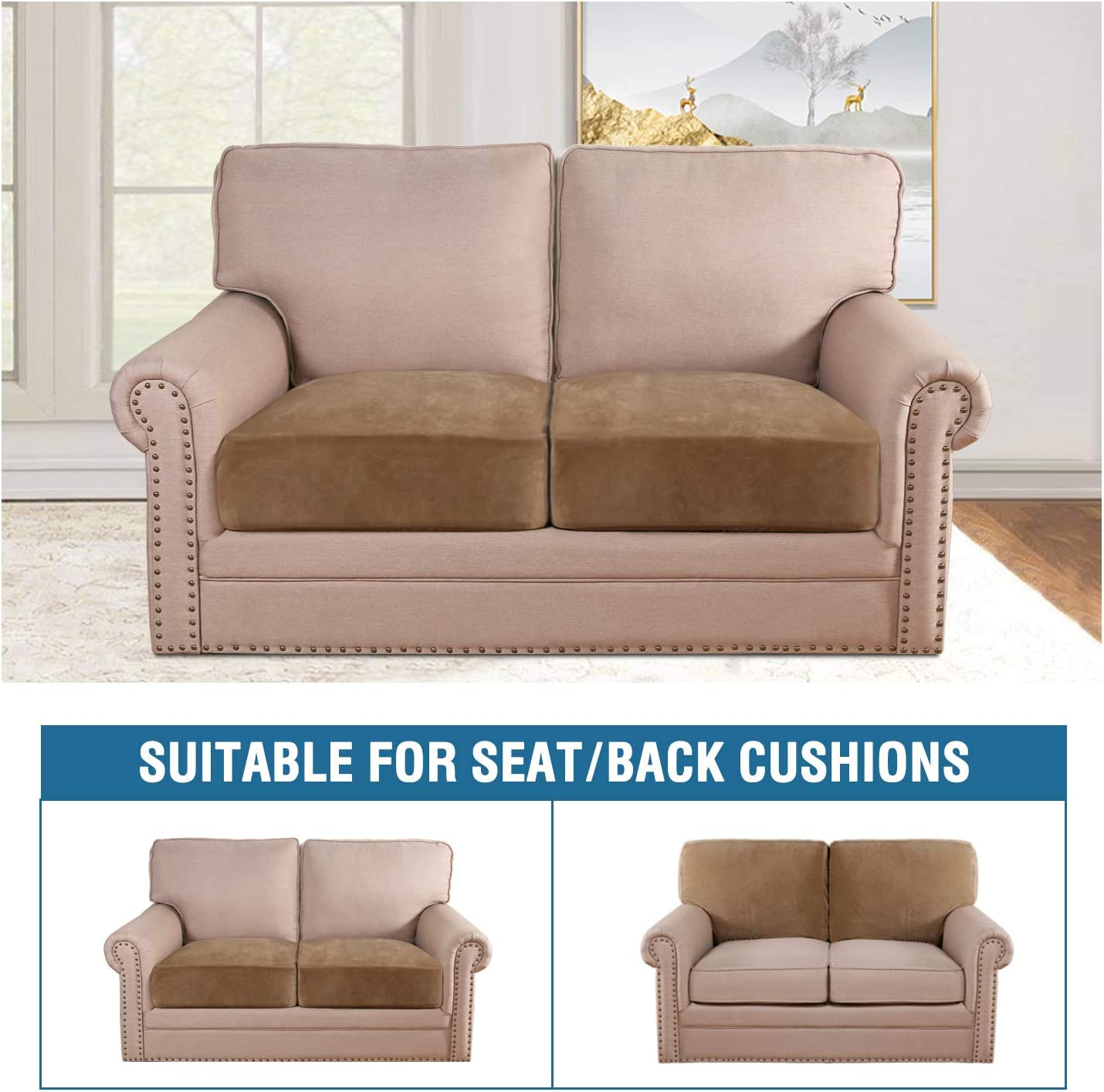 1 Pack, Camel Velvet Stretch Couch Cushion Cover Plush Cushion Slipcover for Chair Cushion Furniture Protector Seat Cushion Sofa Cover with Elastic Bottom Washable