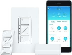 Lutron Caseta Wireless Smart Lighting Dimmer Switch Starter Kit, P-BDG-PKG1W, Works with Alexa, Apple HomeKit, and the Google Assistant (Renewed)