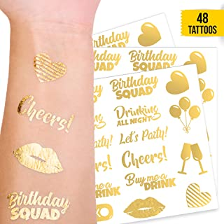 CORRURE 48pcs Birthday Temporary Tattoos - Party Favors Accessories for Entire Girl Squad - Gold Metallic Temp Tattoos for Women - Birthday or Bride Tribe Party Decoration Supplies - 11 Flash Designs