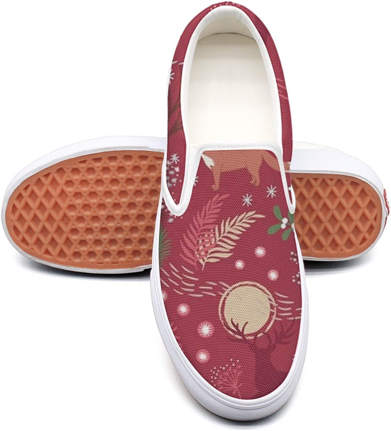Woodland Creatures Deer Womens Plain Canvas Lace Up Dhoes Low Top Cool Basketball shoes For Women's