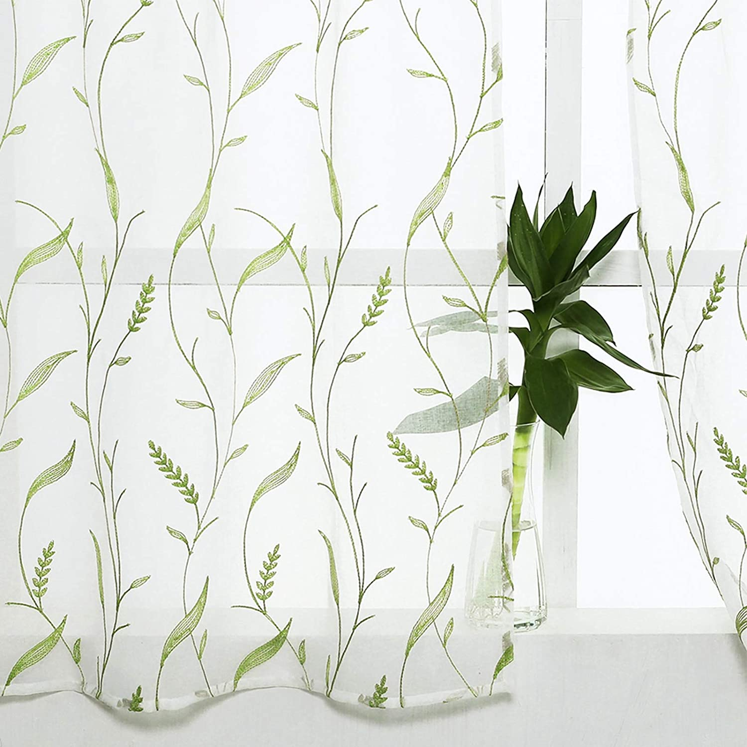 Leaves Embroiedry Sheer Valance Curtain 16 inches Long Valances Wheat Spike Embroidered Curtains Valances Living Room Bedroom Voile Rod Pocket Window Treatment 1 Panel Green Wheat Spike on White