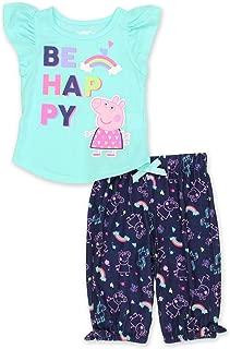 Peppa Pig Toddler Girl's 2 Piece Cap Sleeve Top and Capri Pants Pajamas Set