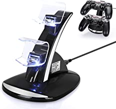 PS4 Controller Charger,DualShock PS4 Controller Charger Station Wireless Charger for PS4/PS4 Pro/PS4 Slim Controller,2 Micro USB Dongles Fast Charging Stand for PS4 Controller