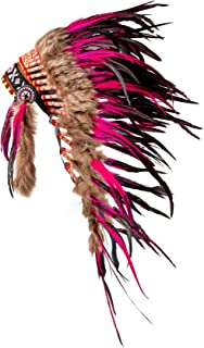 Pink Pineapple Handcrafted Native American Inspired Medium Feather Headdress, Hot Pink and Black