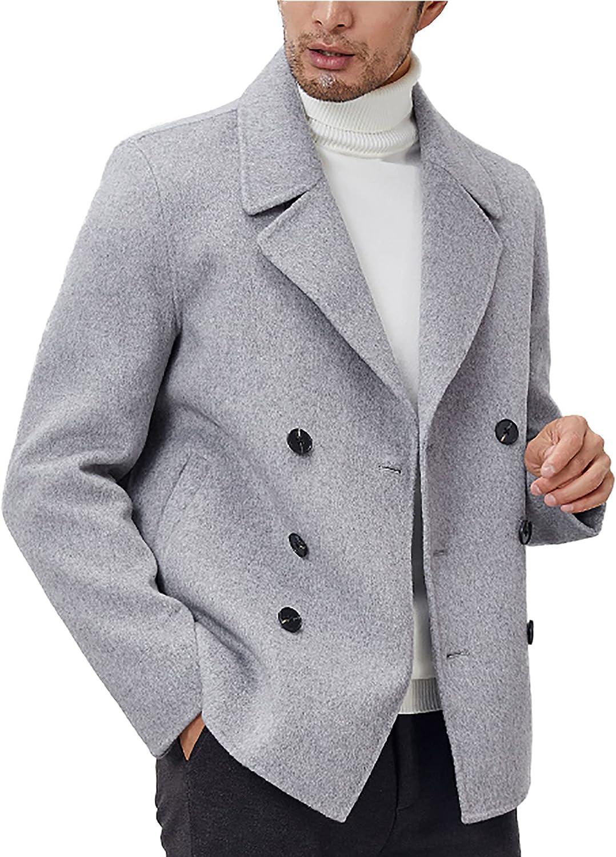 Men's Classic Double Breasted Peacoat 100% Woolen Pea Coat (Regular Big & Tall and Short)
