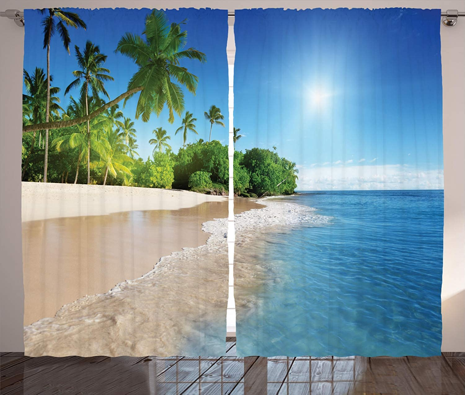 Ambesonne bluee Curtains Decor, Ocean Tropical Palm Trees on Sunny Island Beach Scene Panoramic View Picture, Living Room Bedroom Window Drapes 2 Panel Set, 108 W X 84 L Inches, bluee Green and White